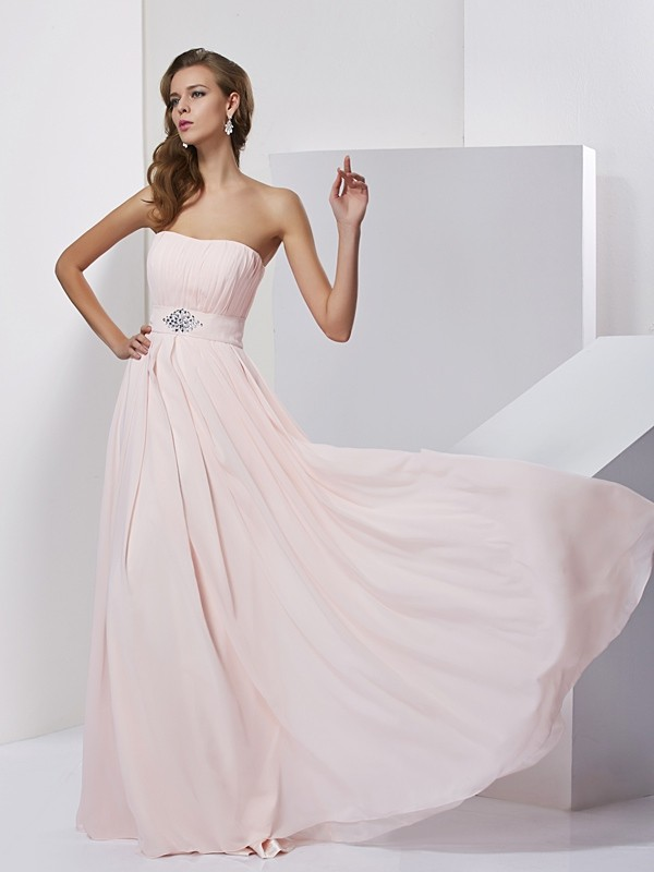 A-Line Strapless Sleeveless Long Chiffon Dresses