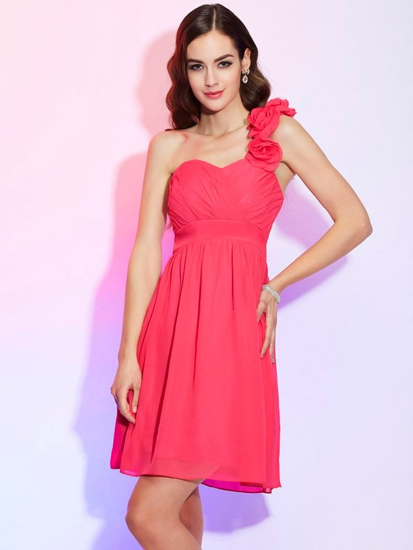 A-Line One-Shoulder Sleeveless Pleats Short Chiffon Debs Dress