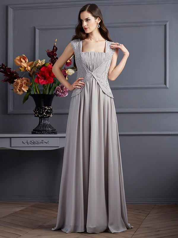 A-Line Square Sleeveless Beading Long Chiffon Dresses