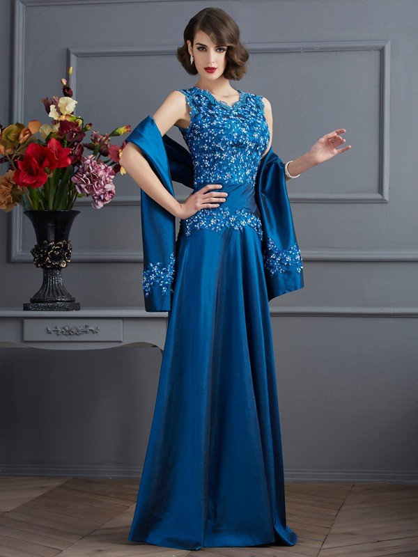 A-Line V-neck Sleeveless Beading Long Taffeta Dresses