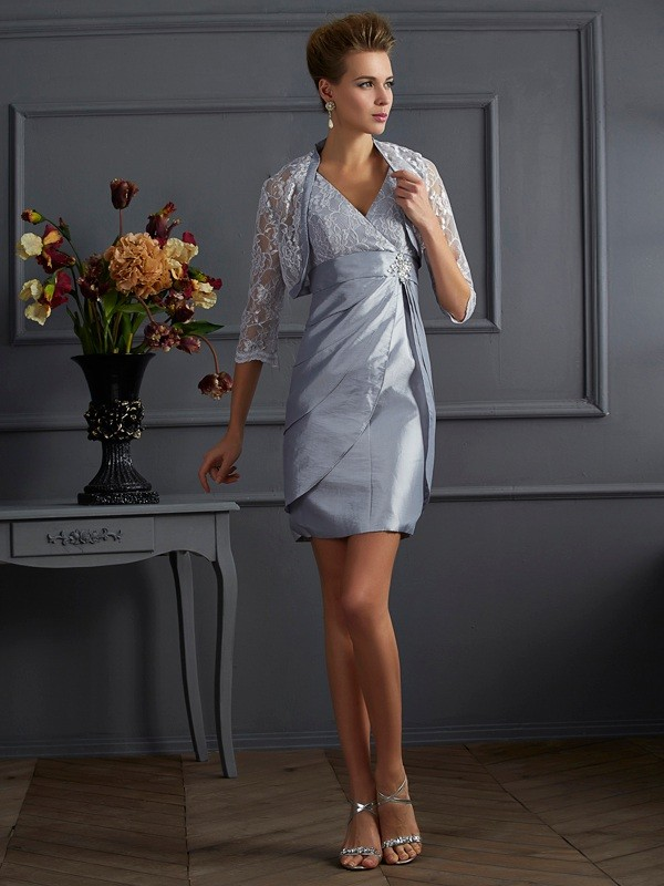 Sheath V-neck Sleeveless Short Taffeta Dresses