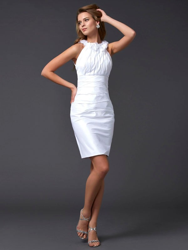 Sheath High Neck Sleeveless Hand-Made Flower Short Taffeta Debs Dress