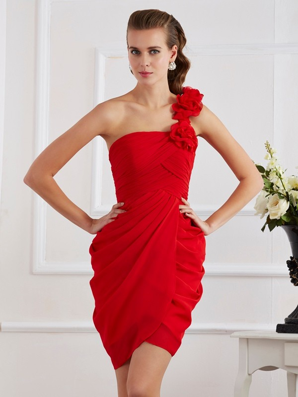 Sheath One-Shoulder Sleeveless Hand-Made Flower Short Chiffon Debs Dress