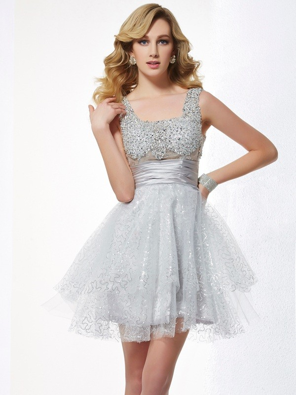 A-Line Straps Sleeveless Beading Short Elastic Woven Satin Debs Dress