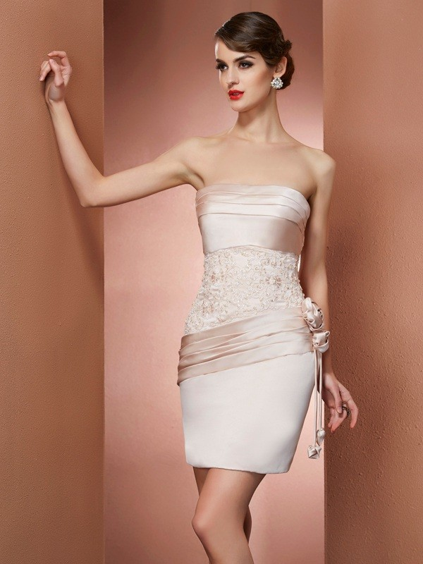Sheath Strapless Sleeveless Hand-Made Flower Short Satin Debs Dress