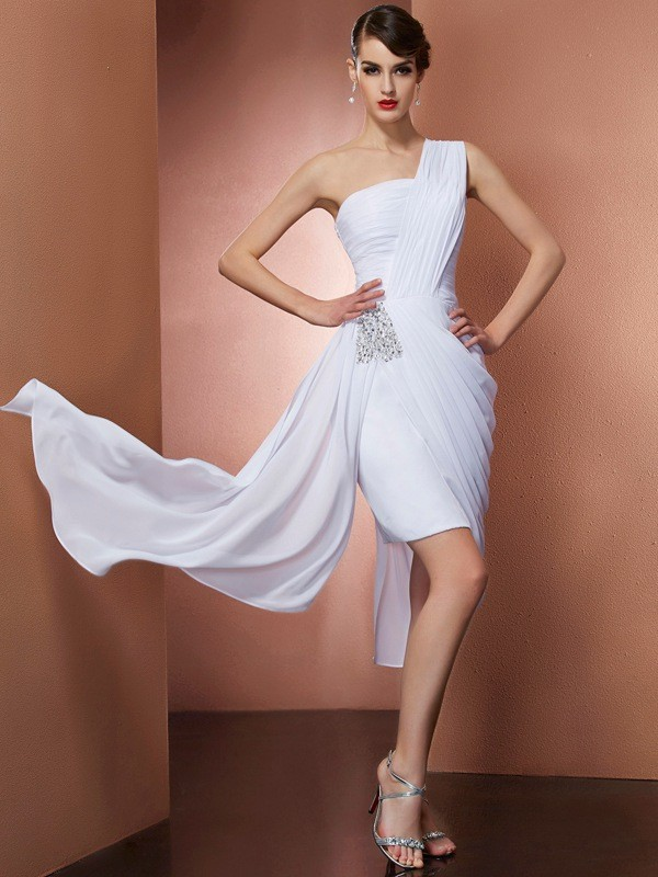 Sheath One-Shoulder Sleeveless Pleats Beading Short Chiffon Debs Dress