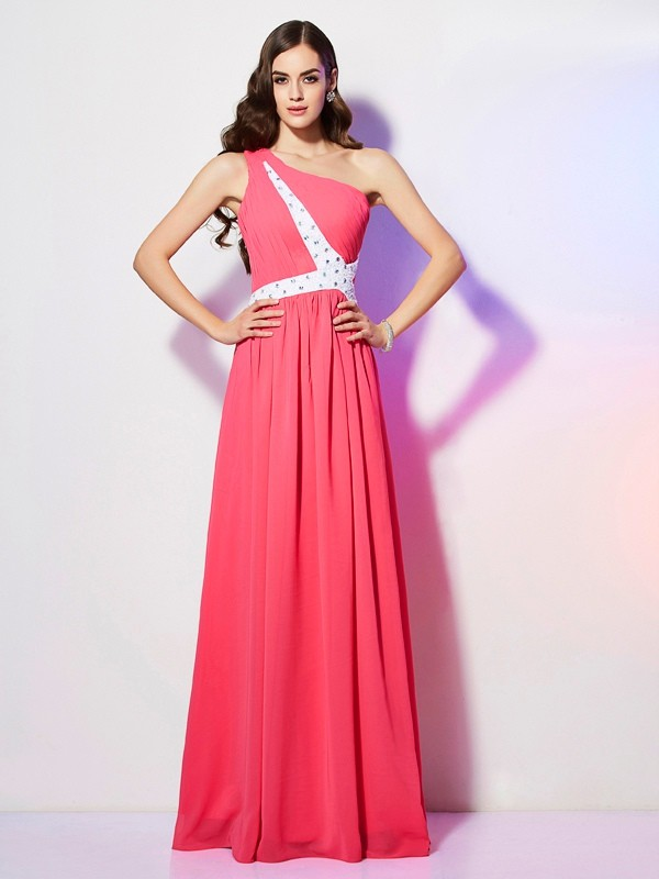 A-Line One-Shoulder Sleeveless Beading Long Chiffon Dresses
