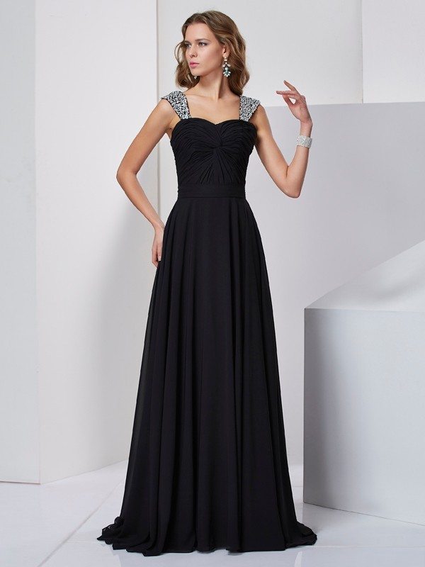 A-Line Straps Sleeveless Beading Long Chiffon Dresses