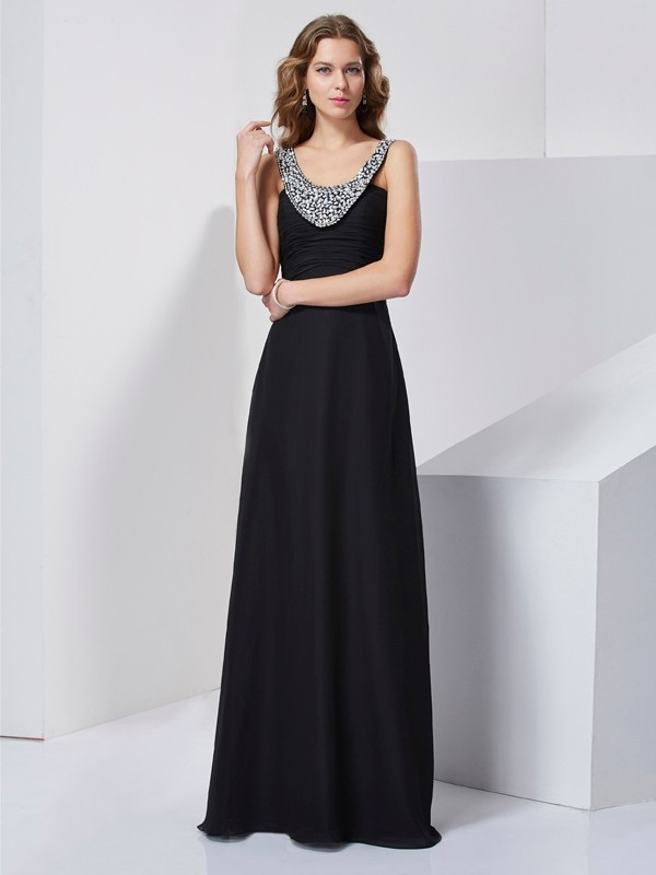 A-Line Scoop Sleeveless Beading Long Chiffon Dresses