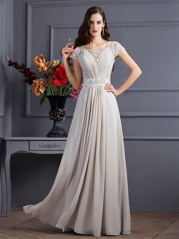 A-Line Sweetheart Short Sleeves Beading Long Chiffon Dresses