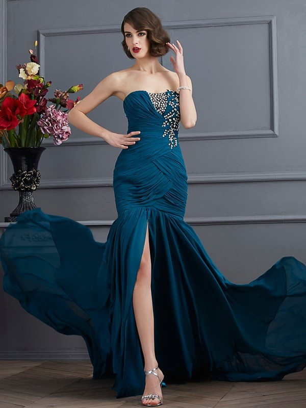 Mermaid Strapless Sleeveless Beading Applique Long Chiffon Dresses