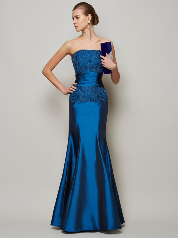 Mermaid Strapless Sleeveless Applique Beading Long Taffeta Dresses