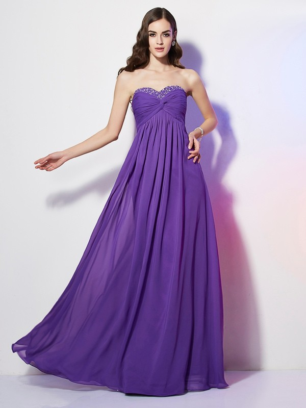 A-Line Sweetheart Sleeveless Beading Long Chiffon Dresses