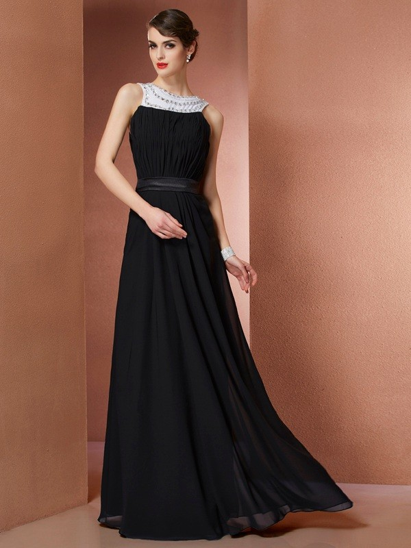 Sheath Scoop Sleeveless Beading Long Chiffon Dresses