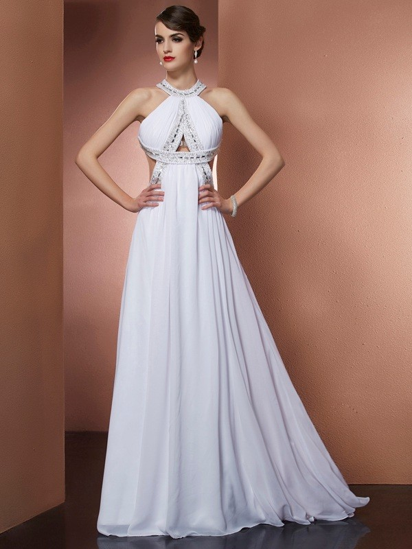 A-Line Bateau Sleeveless Beading Long Chiffon Dresses