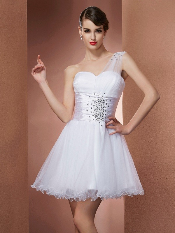 A-Line One-Shoulder Sleeveless Beading Short Net Debs Dress