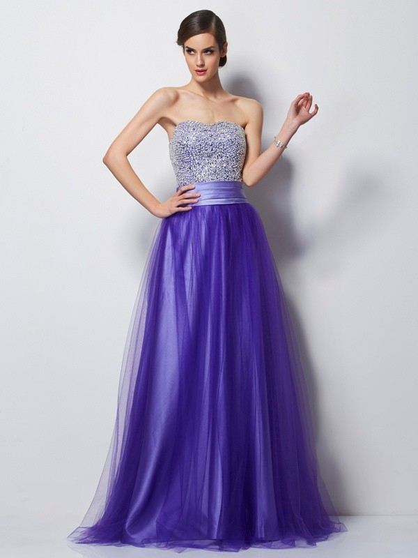 A-Line Sweetheart Sleeveless Beading Long Net Dresses