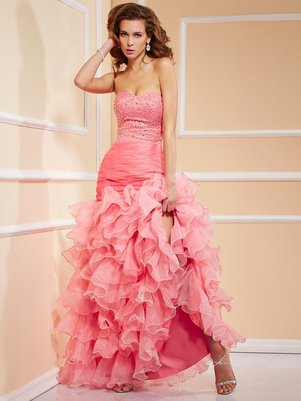Mermaid Sweetheart Sleeveless Ruffles High Low Organza Dresses
