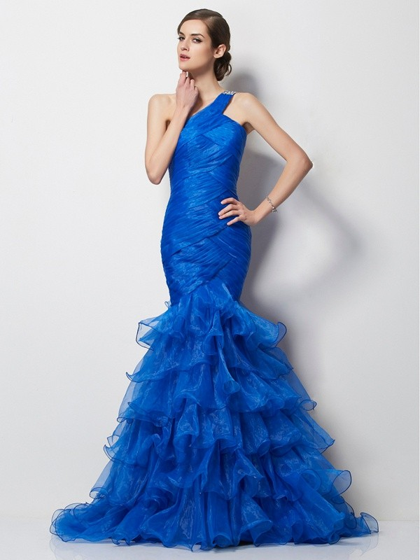Mermaid One-Shoulder Sleeveless Pleats Long Tulle Dresses