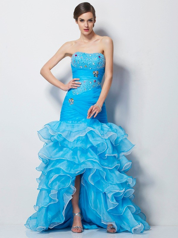 Mermaid Sweetheart Sleeveless Beading High Low Tulle Dresses