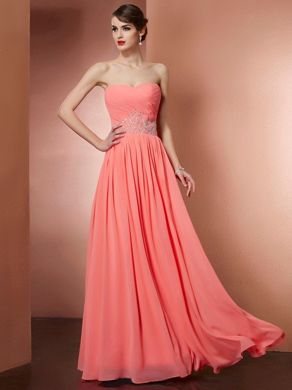 A-Line Strapless Sleeveless Pleats Beading Long Chiffon Dresses