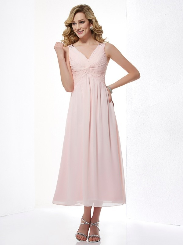 A-Line V-neck Sleeveless Pleats Short Chiffon Dresses