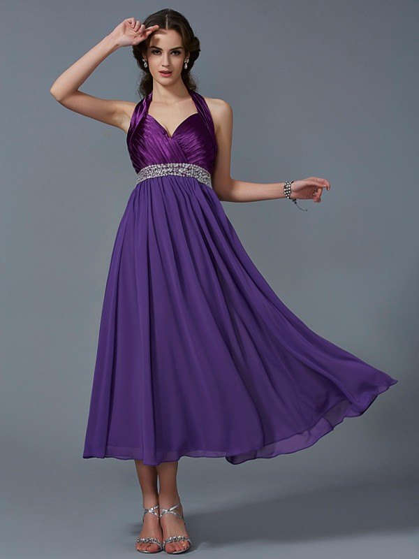 A-Line Halter Sleeveless Beading Long Chiffon Debs Dress