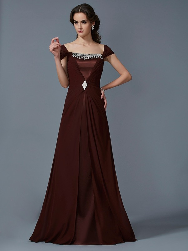 A-Line Strapless Short Sleeves Long Chiffon Dresses