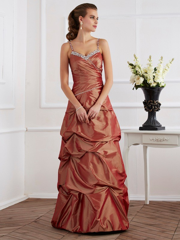 Sheath Spaghetti Straps Sleeveless Beading Long Taffeta Dresses
