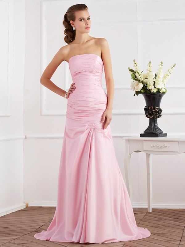 Mermaid Strapless Sleeveless Beading Long Taffeta Dresses