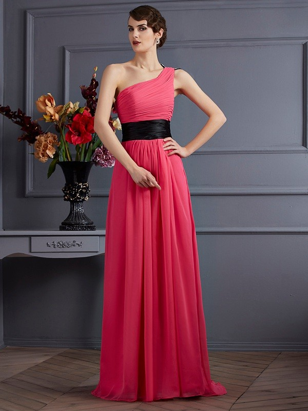 A-Line One-Shoulder Sleeveless Pleats Long Chiffon Dresses