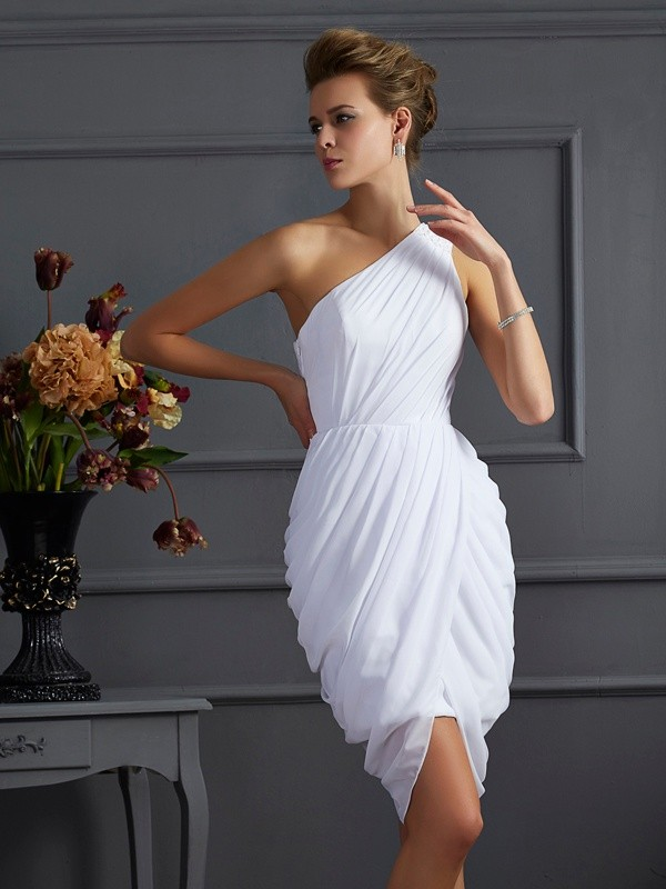 Sheath One-Shoulder Sleeveless Pleats Short Chiffon Debs Dress