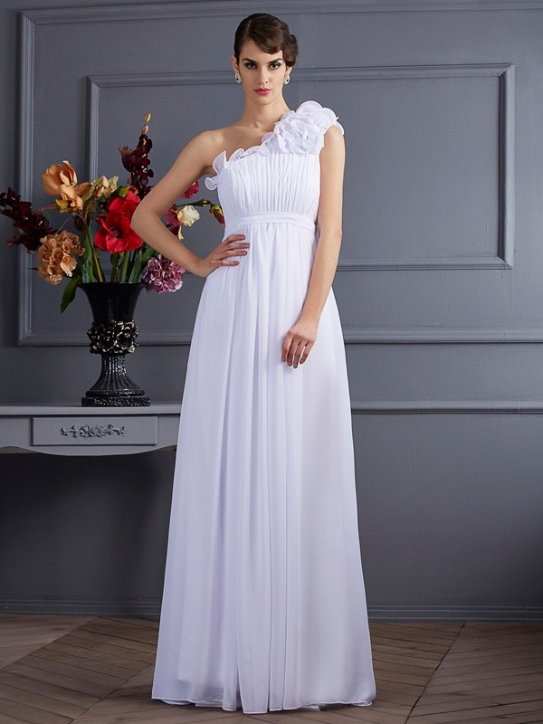 A-Line One-Shoulder Sleeveless Pleats Applique Long Chiffon Dresses