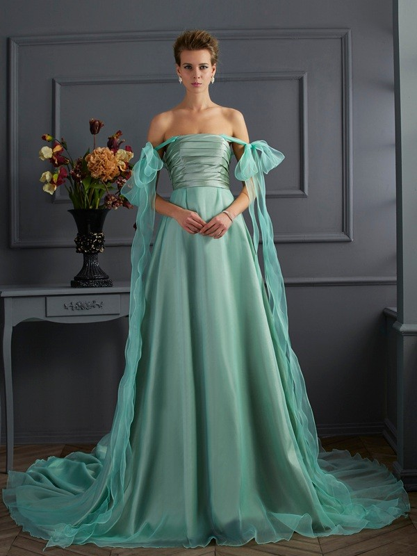 A-Line Off the Shoulder Sleeveless Long Taffeta Dresses