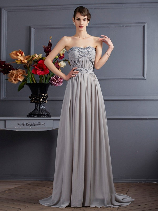 A-Line Sweetheart Sleeveless Beading Pleats Long Chiffon Dresses