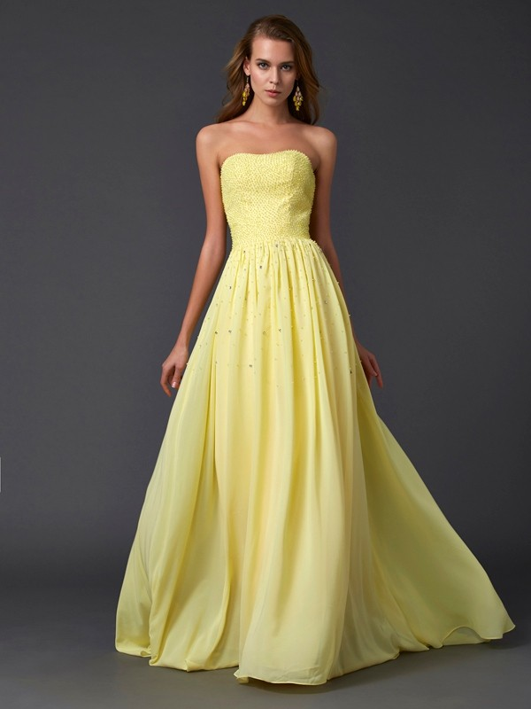 A-Line Strapless Sleeveless Pleats Long Chiffon Dresses