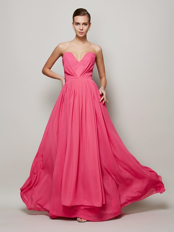 A-Line Sweetheart Sleeveless Pleats Long Chiffon Dresses