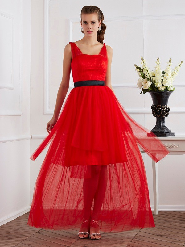 A-Line Straps Sleeveless Pleats Long Elastic Woven Satin Dresses