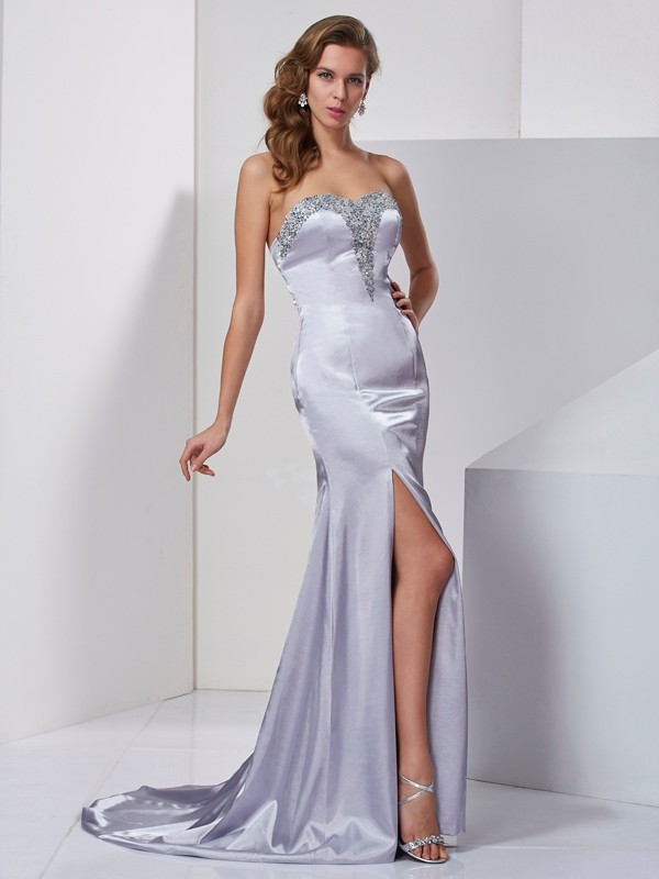 A-Line Sweetheart Sleeveless Beading Long Elastic Woven Satin Dresses