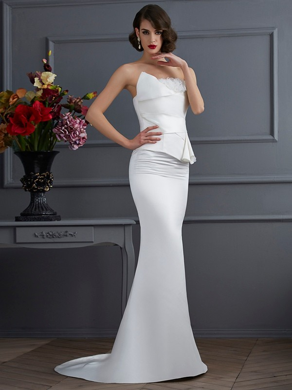Mermaid Strapless Sleeveless Hand-Made Flower Long Satin Dresses