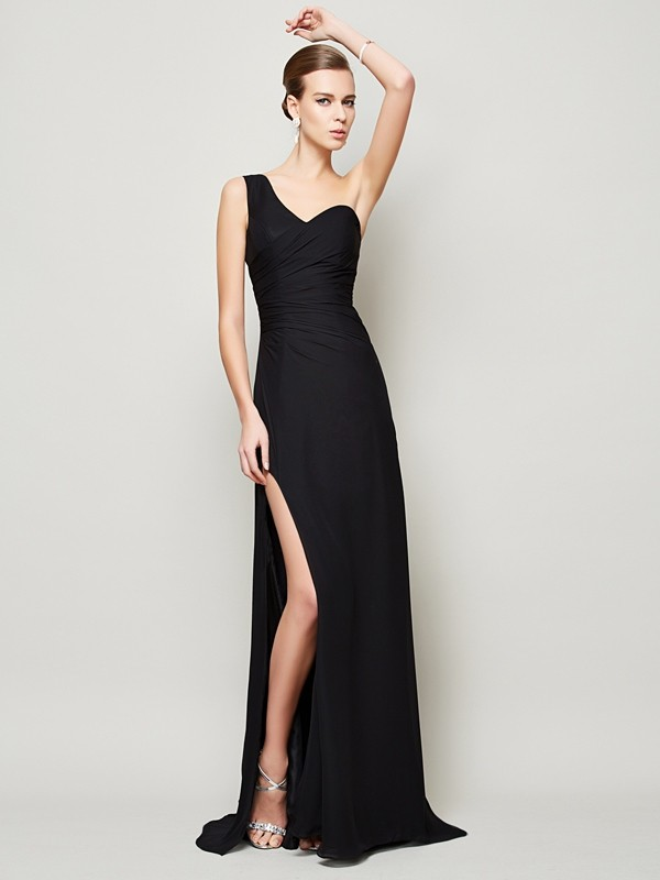 Sheath One-Shoulder Sleeveless Pleats Long Chiffon Dresses
