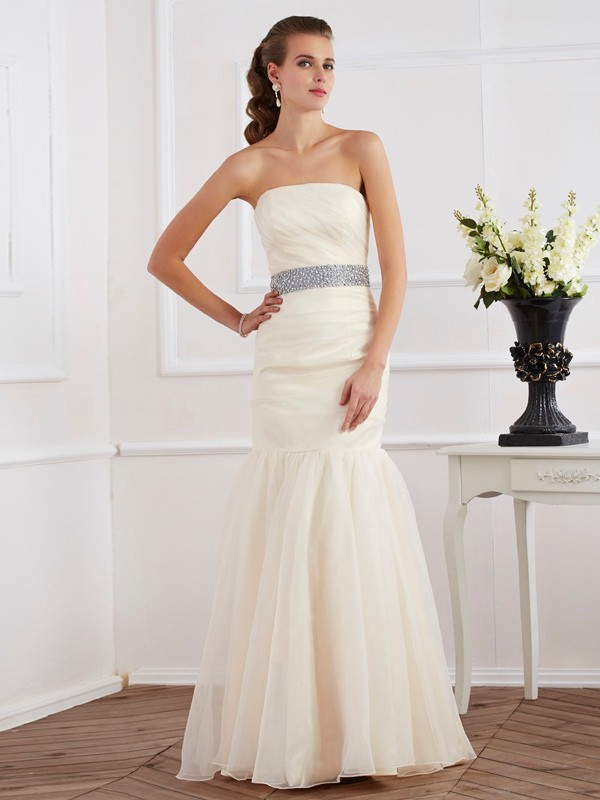 Mermaid Strapless Sleeveless Sash/Ribbon/Belt Long Organza Dresses
