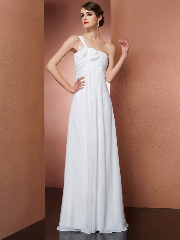 A-Line One-Shoulder Sleeveless Bowknot Long Chiffon Dresses
