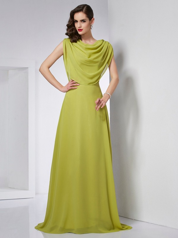 A-Line High Neck Sleeveless Pleats Long Chiffon Dresses