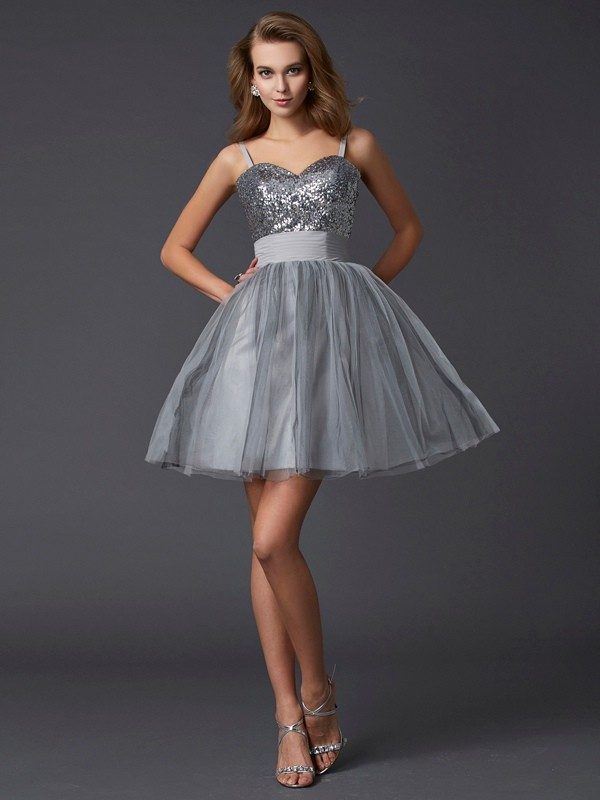 A-Line Spaghetti Straps Sleeveless Short Organza Debs Dress