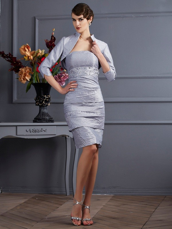 Sheath Strapless Sleeveless Short Taffeta Dresses