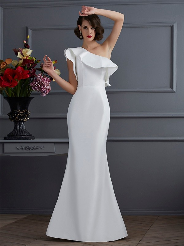 Mermaid One-Shoulder Sleeveless Ruffles Long Taffeta Dresses