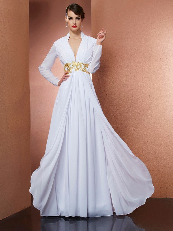 A-Line V-neck Long Sleeves Long Chiffon Dresses