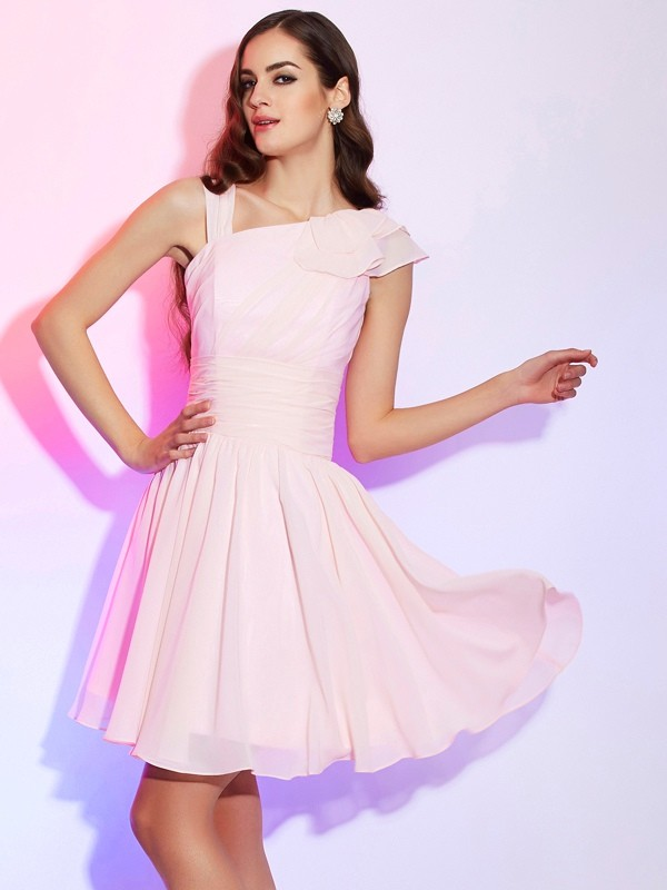 A-Line Sleeveless Pleats Short Chiffon Debs Dress