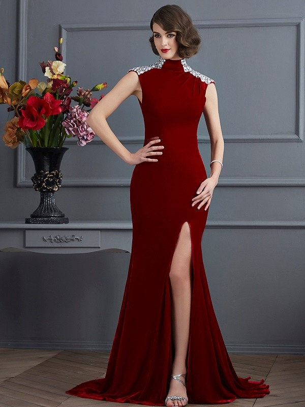 A-Line High Neck Sleeveless Beading Long Dresses